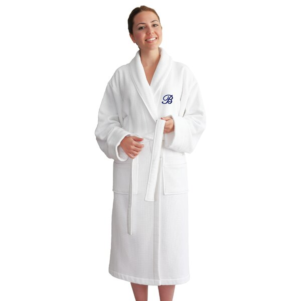 Personalized 100% Turkish Cotton Waffle Bathrobe by Linum Home Textiles